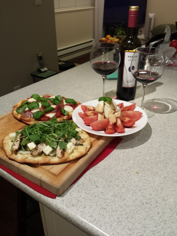 Italian night! Flatbreads, salad and wine!